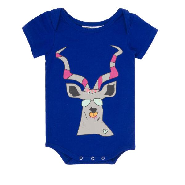 Body Kortärm,blå Romper antilop - Gardner and the gang - Ekobay store för en hållbar livsstil