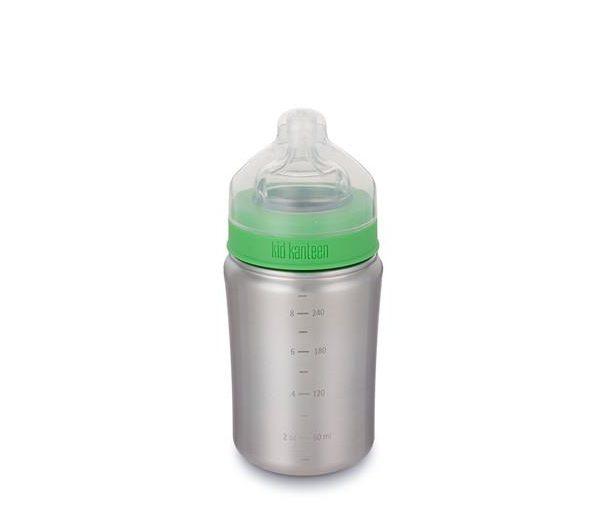 Giftfri och miljövänlig nappflaska i borstat stål, 267 ml, från Klean Kanteen