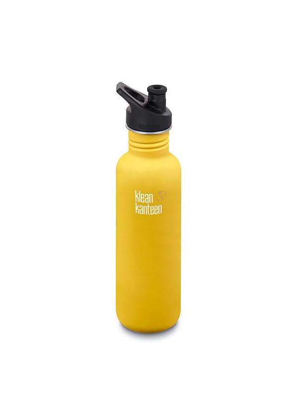 Miljövänlig vattenflaska 800ml med sportkork -lemon/curry- Klean Kanteen